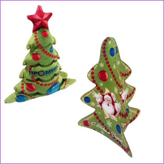 """Новогодняя игрушка """"Елочка""""  материал: искуственный мех, печать по ткани."""