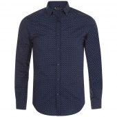 Рубашка мужская BECKER MEN, темно-синяя с белым, размер M