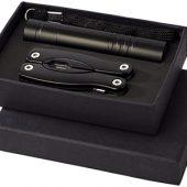 Подарочный набор Scout с многофункциональным ножом и фонариком, черный, арт. 009161003