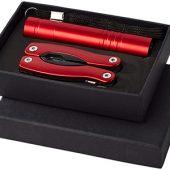 Подарочный набор Scout с многофункциональным ножом и фонариком, красный