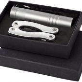 Подарочный набор Scout с многофункциональным ножом и фонариком, серебристый, арт. 009160703