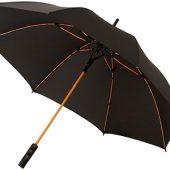 """Зонт-трость """"Spark"""" полуавтомат 23″, черный/оранжевый, арт. 009183503"""