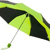 Зонт Spark 21″ трехсекционный механический, черный/зеленый