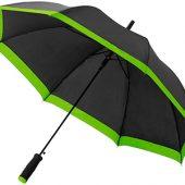 Зонт-трость Kris 23″ полуавтомат, черный/лайм, арт. 009167503