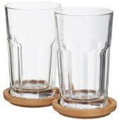 Набор стаканов Linden с костерами, прозрачный, арт. 009191403