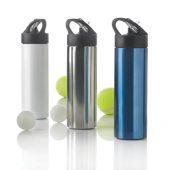 Спортивная бутылка для воды с трубочкой, 500 мл, серебряный