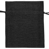 Мешочек подарочный, искусственный лен, малый, черный