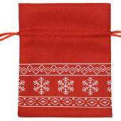 Мешочек подарочный новогодний, хлопок, малый, красный, арт. 009540503
