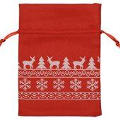 Мешочек подарочный новогодний, хлопок, средний, красный, арт. 009540703