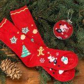 """Носки в шаре """"Рождество"""" женские, красный ( стопа 21,5-25 см ), арт. 009598003"""