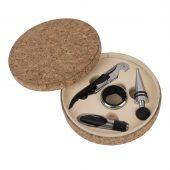 Набор для вина «Cork» (4 предмета); 15х4см; искусственная кожа, металл; лазерная гравировка