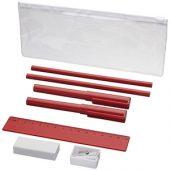 Набор «Mindy»: ручки шариковые, карандаши, линейка, точилка, ластик, красный