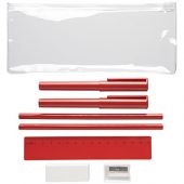 Набор «Mindy»: ручки шариковые, карандаши, линейка, точилка, ластик, красный, арт. 014872103