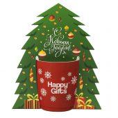 Коробка-украшение для чашки в виде елки, 15*23 см, мелованный картон, белый