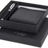 Подарочный набор из шариковой ручки и портмоне, черный, арт. 015092703