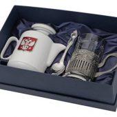 Чайный набор с подстаканником и фарфоровым чайником «ЭГОИСТ-М», серебристый/белый, арт. 015142803