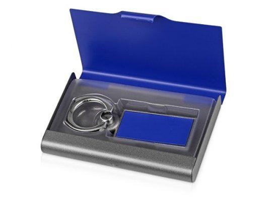 Набор «Slip»: визитница, держатель для телефона, серый/синий