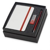 Набор Reporter Plus с флешкой, ручкой и блокнотом А6, красный, арт. 015524403
