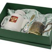 Чайный набор с подстаканником и фарфоровым чайником «ЭГОИСТ-Л», золотистый/белый, арт. 015142703