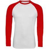 Футболка мужская с длинным рукавом FUNKY LSL белая с красным, размер M