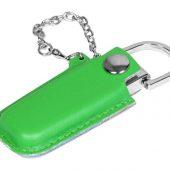 Флешка в массивном корпусе с кожаным чехлом, 16 Гб, зеленый (16Gb), арт. 016500503