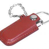 Флешка в массивном корпусе с кожаным чехлом, 16 Гб, коричневый (16Gb), арт. 016500603