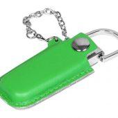 Флешка в массивном корпусе с кожаным чехлом, 32 Гб, зеленый (32Gb), арт. 016507803
