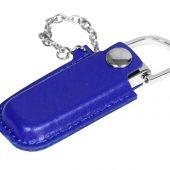 Флешка в массивном корпусе с кожаным чехлом, 64 Гб, синий (64Gb), арт. 016508303