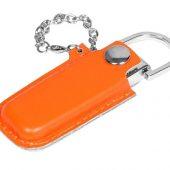 Флешка в массивном корпусе с кожаным чехлом, 64 Гб, оранжевый (64Gb)