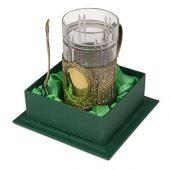 Подстаканник с хрустальным стаканом Базовый-Л, золотистый/прозрачный, арт. 016881303