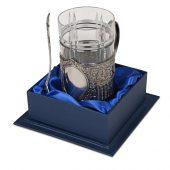 Подстаканник с хрустальным стаканом Базовый-М, серебристый/прозрачный, арт. 016881203