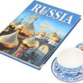 Набор Моя Россия: чайно-кофейная пара Матрешка, гжель и книга Россия на англ. языке, арт. 016955603
