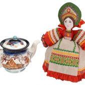 Набор Зимняя сказка: кукла на чайник, чайник заварной с росписью, арт. 017006203
