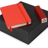 Подарочный набор To go с блокнотом и зарядным устройством, красный (А6), арт. 017009603