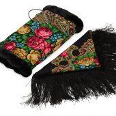 Подарочный набор: Павлопосадский платок, муфта, черный/разноцветный, арт. 017089303