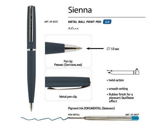 Ручка Bruno Visconti Sienna шариковая автоматическая, синий металлический корпус, 1.0 мм, синяя, арт. 017353303