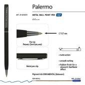 Ручка Palermo шариковая BrunoVisconti автоматическая, черный металлический корпус, 0,7 мм, синяя, арт. 017356303