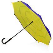 Зонт-трость наоборот, полуавтомат, темно-синий/желтый, арт. 017389603