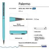 Ручка Palermo шариковая автоматическая, бирюзовый металлический корпус, 0,7 мм, синяя, арт. 017357103