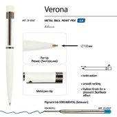 Ручка Verona шариковая автоматическая, белый металлический корпус, 1.0 мм, синяя, арт. 017355603