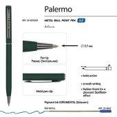 Ручка Palermo шариковая автоматическая, зеленый металлический корпус, 0,7 мм, синяя, арт. 017356503
