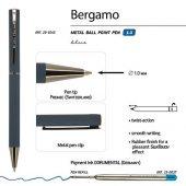 Ручка Bergamo шариковая автоматическая, синий металлический корпус, 1.0 мм, синяя, арт. 017355103