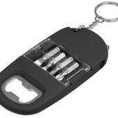 Брелок-открывалка с отвертками и фонариком Uni, софт-тач, черный, арт. 017745203