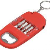 Брелок-открывалка с отвертками и фонариком Uni, софт-тач, красный, арт. 017745303