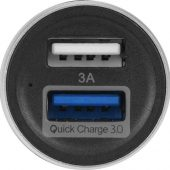 Адаптер автомобильный USB с функцией быстрой зарядки QC 3.0 TraffIQ, черный/серебристый, арт. 017767003