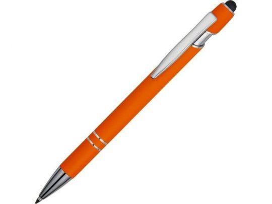 Ручка металлическая soft-touch шариковая со стилусом Sway, оранжевый/серебристый, арт. 017989603
