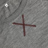 Джемпер Stitch с контрастной отделкой, серый с бордовым, размер M