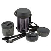 Термос из нерж.стали с пластиковыми контейнерами и ложкой тм THERMOS JBG-1800 Food Jar 1.8L, серый, арт. 018383103