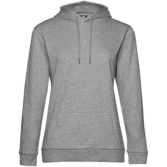 Толстовка с капюшоном женская Hoodie, серый меланж, размер XS