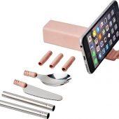 Набор столовых приборов Galen из пшеничной соломы с держателем для мобильного телефона, light pink, арт. 019072403